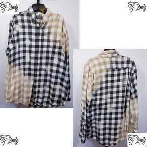 Unisex L Tall Distressed Bleached Flannel Shirt